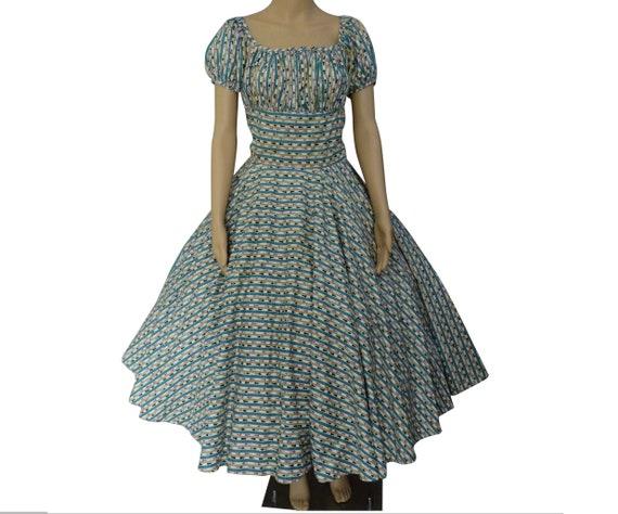 Vintage 1950s Dress / Bias cut / Novelty Print / 5