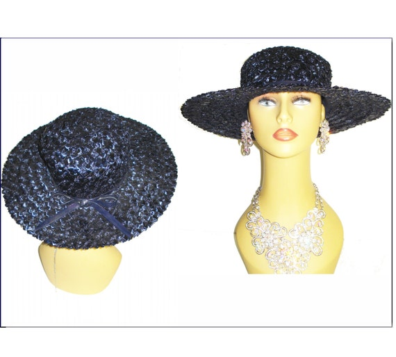 1950s Navy Blue Hat   . Wide Brim .  Raffia . Gard