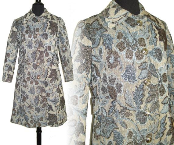 Vintage 1960s Coat  .  Blue Floral Tapestry  .  Bl