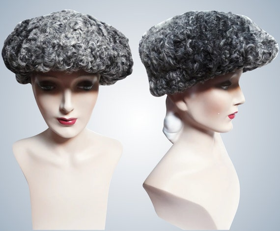 Vintage Curly Lamb Hat | 1960s Hat | Silver | 60s