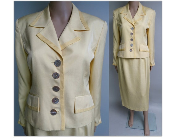 Vintage 1980s Christian Dior Suit | Yellow | Desig
