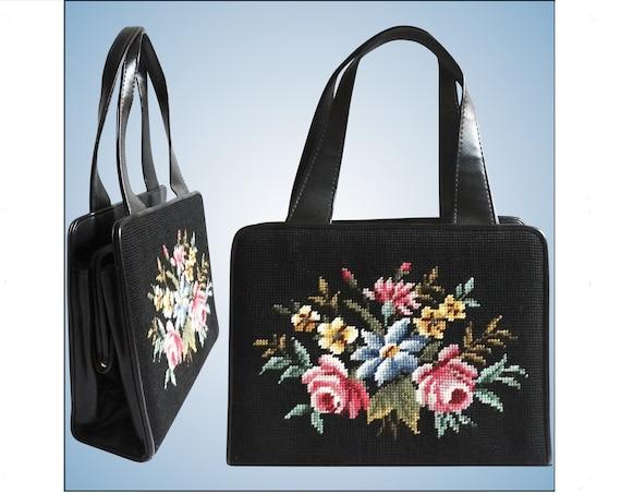 Vintage 1950s Purse | Needlepoint Purse | Floral P