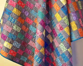Modern Lap Quilt-Handmade Quilt-Throw Quilt-Allison Glass-Homemade Blanket-Rainbow Quilt-Bed Coverlet-Homemade Quilts For Sale-Ready to Ship