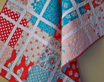Handmade Baby Girl Quilt-Baby Shower Gift-Handmade Baby Blanket-Quilts for Girls-Crib Bedding-Red Aqua Pink-Ready to Ship-Quilts for Sale