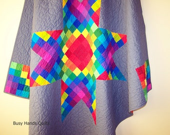 Rainbow Lap Quilt, Modern Lap Quilt, Rainbow Blanket, Handmade Blanket, Star Quilt-Throw Quilt-Quilts for Kids-Ready to Ship-BusyHandsQuilts