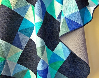 Quilts for Men, Star Quilt, Modern Lap Quilt, Twin Quilt, Handmade Blanket, Navy Quilt, Blue and Green Quilt-Quilts For Sale-BusyHandsQuilts