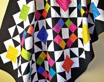 Handmade Throw-Throw Blanket-Throw Quilt-Sofa Throw-Bed Throw-Handmade Lap Quilt-Rainbow Quilt-Modern Quilt-Quilts For Sale-Ready to Ship