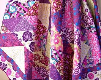 Amy Butler Queen Quilt-Modern Queen Quilt, Handmade Quilt-Queen Bed Quilts-Purple Gold Pink-Queen Bedding-Quilts for Sale-Ready to Ship