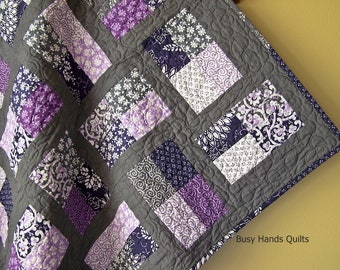 Baby Shower Gift, Baby Girl Quilt, Crib Quilt, Modern Baby Quilt, Handmade Baby Blanket, Quilts for Girls, Purple, Gray, Quilts for Sale