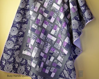 Handmade Twin Quilt-Modern Quilts-Pillow Sham-Twin Bedding-Quilts for Girls-Floral Blankets-Grey and Purple-Quilts for Sale-Ready to Ship
