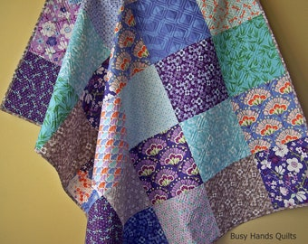 Modern Lap Quilt-Kate Spain-Handmade Blanket-Throw Quilt-Sofa Throw-Purple Gray-Patchwork Quilt-Quilts For Sale-Bed Coverlet-Ready to Ship