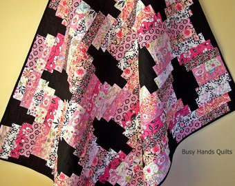 Modern Lap Quilt-Handmade Blanket-Sofa Throw-Gifts For Her-Throw Quilt-Black and Pink-Lap Quilt-Quilts For Sale-Bed Coverlet-Ready to Ship