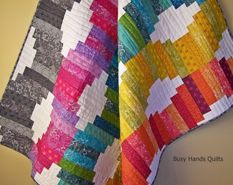 Modern Lap Quilt-Handmade Blanket-Gifts For Her-Throw Quilt-Sofa Throw-Rainbow Quilt-Alison Glass-Quilts For Sale-Bed Coverlet-Ready to Ship