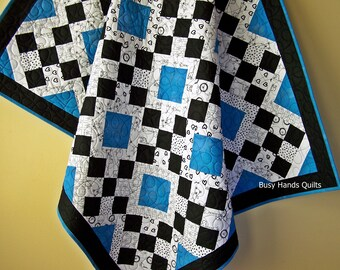 Blankets for Kids-Kid Quilt-Handmade Blanket-Quilts for Kids-Gender Neutral-Black and White Aqua Turquoise-Quilts For Sale-Ready to Ship