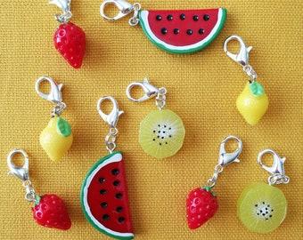 Make your own set of progress keepers, stitch markers, knitting crochet jewellery, fruit watermelon strawberry citron kiwi food, cute kawaii