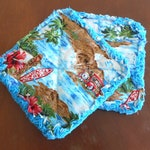 Pair of Rag Quilted Fabric Pot Holders:  Lavender Calico, Hawaii, Gingham Checks, Cherries