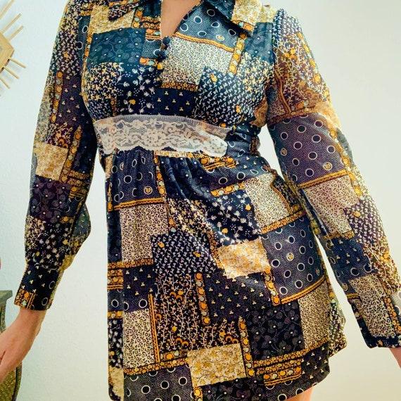 Vintage 60s 70s groovy mod patchwork ultra mini d… - image 2
