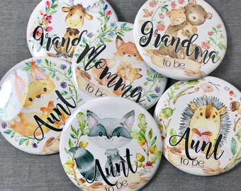 Woodland Animals baby shower Pins | Mommy to be Forrest baby animal name badges pinback button, Compact Pocket Mirror, Magnet bottle opener