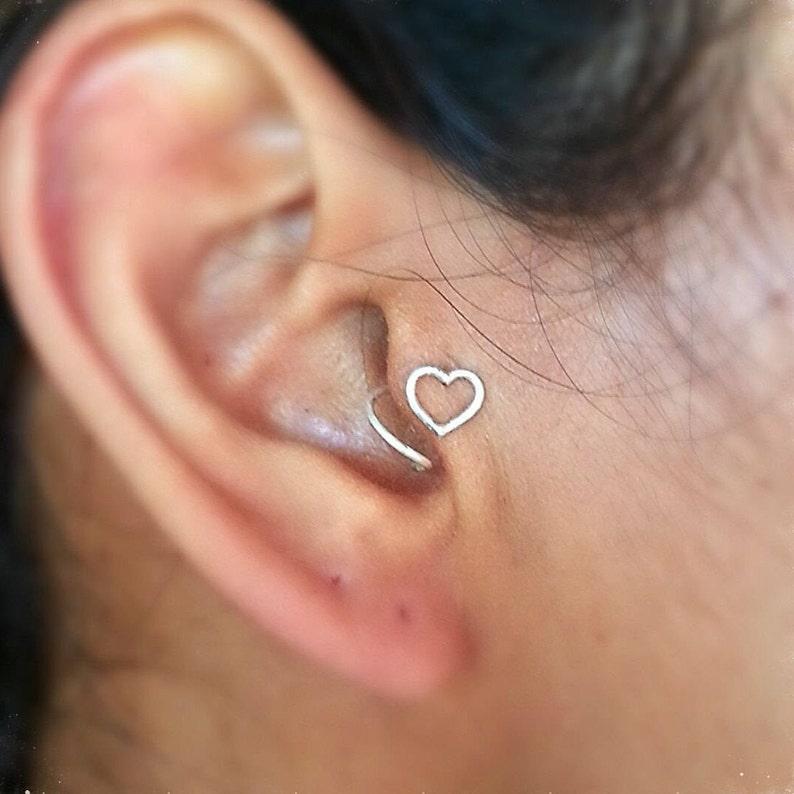 919c8cf16 Tragus Earring Sterling Silver Heart Handmade Open Heart   Etsy