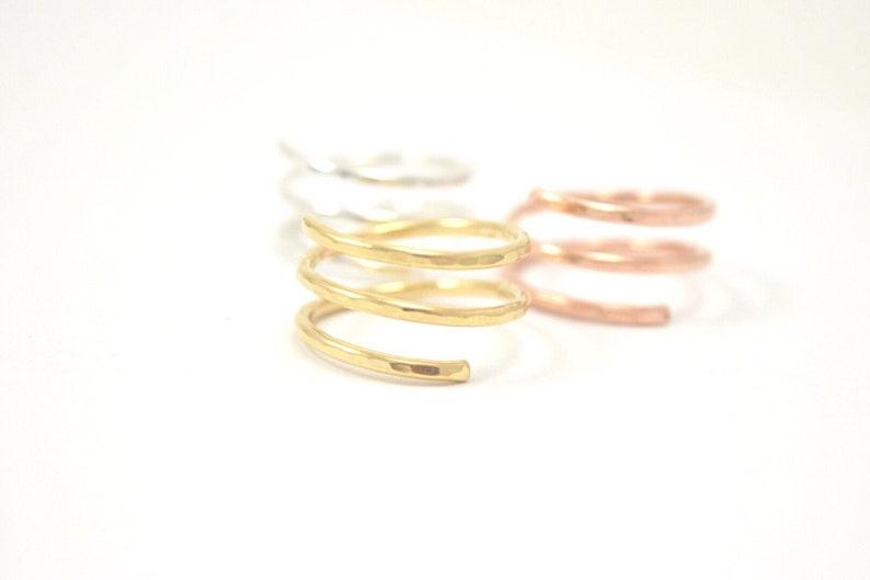 Wrap Ring \u2022 Sterling Silver Rose Gold Filled Statement Ring \u2022 Unique Textured Adjustable Gift for Her
