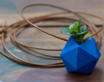 Planter Necklace in Classic Blue: Icosahedron Wearable Planter