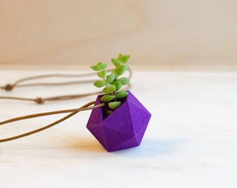 Icosahedron Wearable Planter Necklace in Violet