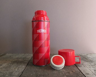 Vintage 1960s Red Checked Thermos / Vintage Camping Gear / Vintage Hiking Gear