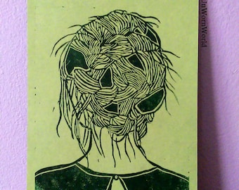 Angeliki lino cut print in oil