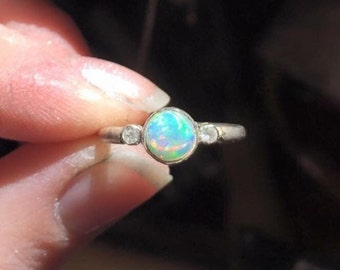 Opal and Diamond ring, Handmade jewellery, 6mm round bezel set opal with diamonds, anniversary, birthday, Opal engagement ring