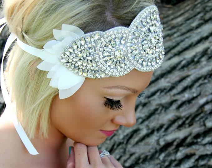 Bohemian headpiece, headband, LANA, Rhinestone Petal Headpiece, Wedding Headband, Bridal Headpiece, Rhinestone Headpiece, Boho Hair, Petals