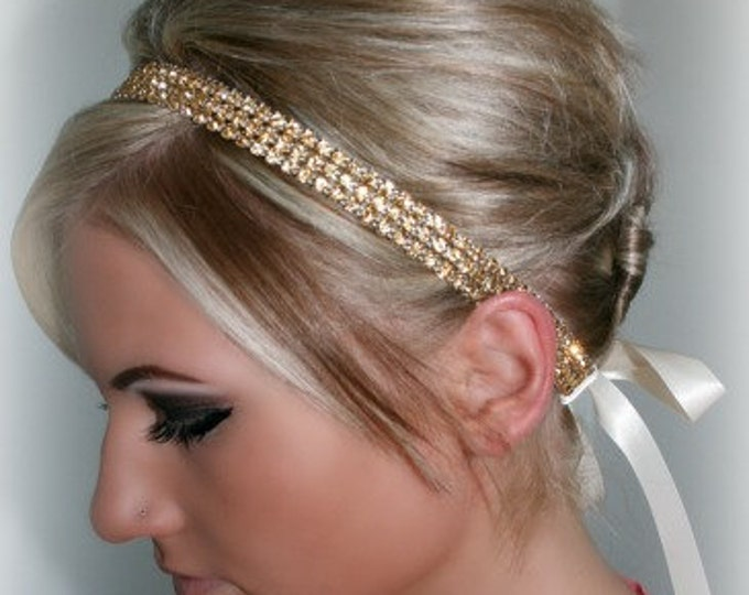 Gold Rhinestone Hair Piece, topaz crystals, ribbon hair, rhinestone hair piece, bridal headband, Gold ribbon tie, Bridesmaid Headband