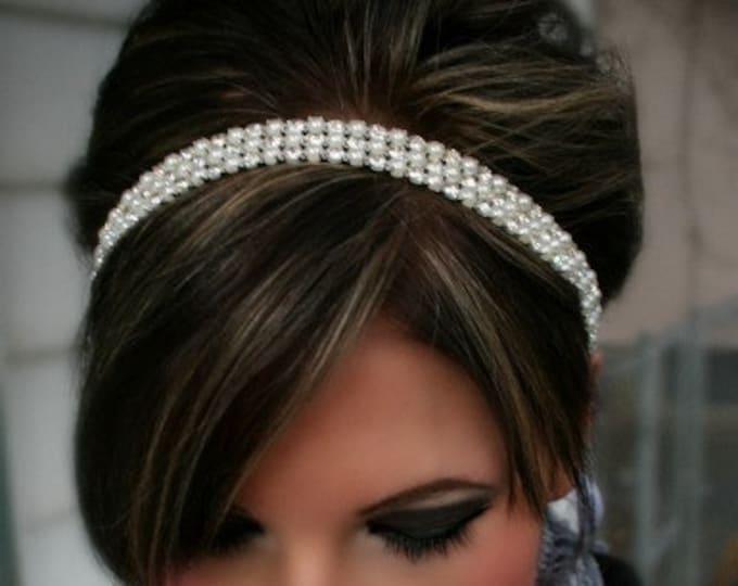 Pearl Rhinestone Headpiece, bridal Headpiece, Ribbon Tie Hair Accessory, Bridal Hair Piece, Wedding Headband, Hair Accessory