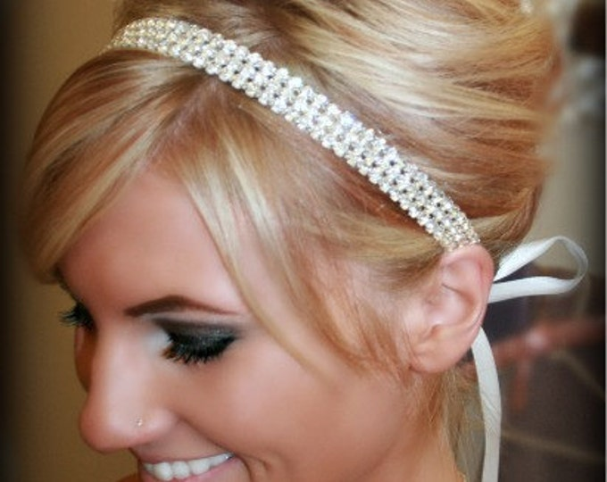 Wedding Hair Accessories, Wedding Headband, Wedding Headpiece, Bridal Headband, Silver Crystal Headband, Ribbon Tie Rhinestone Hair Piece