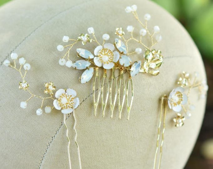 Gold Floral Bridal Hair Comb- Audrey
