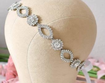 Bridal Headpieces, Wedding Head Piece, Rhinestone Ribbon Tie, Silver Flower Headband, Bridal Hair Piece, Bridal Headpiece, Rhinestone