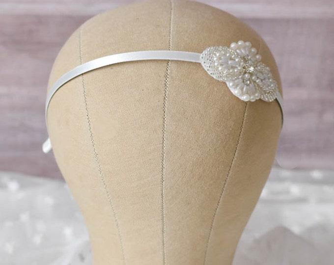 Flower Girl Headband, Rhinestone Pearl Flower Girl Headpiece, Flower Girl Hair Accessories, Rhinestone Headband, Pearl Hair Piece