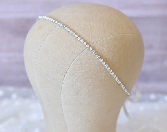 Bridal Headband, Bridal Hair Piece, SINGLE ROW RHINESTONE ribbon, Accessories, Bridal, Wedding Hairpiece, Bridal Ribbon Headband, Rhineston