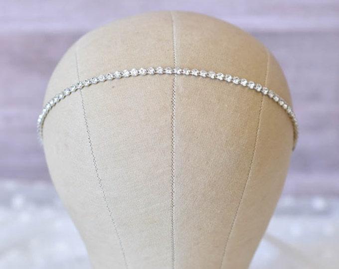 Rhinestone Wedding Headband – Thin Jeweled Headband with Satin Ribbon Tie