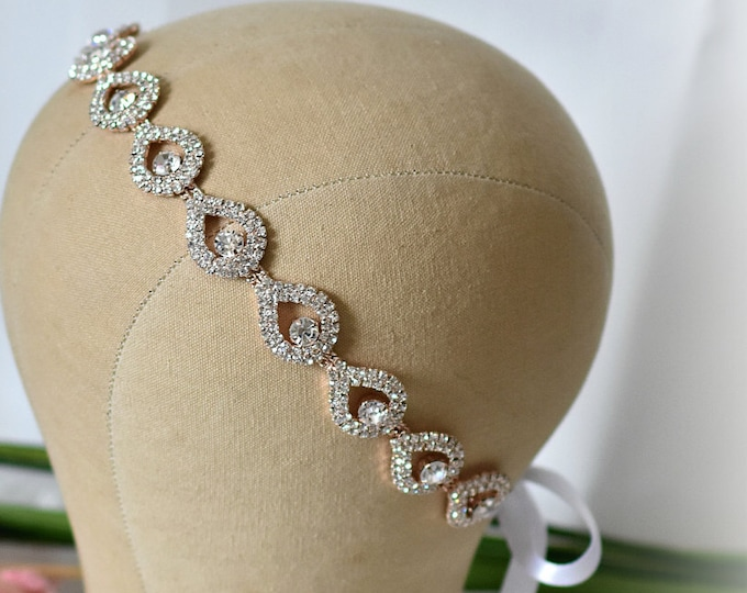 Bridal Headpiece Rose Gold, Rose Gold Wreath, Crystal Headpiece, Rose Gold Headband, Teardrop Rhinestone Hair Piece, Bridal Halo Ribbon Tie