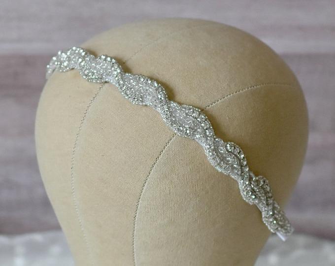 Bridal Headpiece, Rhinestone Headband, Available as Headband or Ribbon Tie
