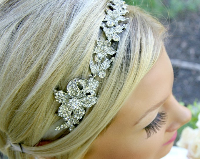 Bridal Hair Vine - Rhinestones In a Silver Floral Design