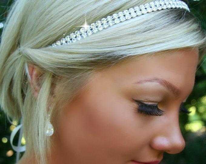Bridal Halo Headpiece, Double Rhinestone SPARKLE, Wedding headpiece, headband, Accessories, Bridal, Wedding, Hair Accessory, Bohemian