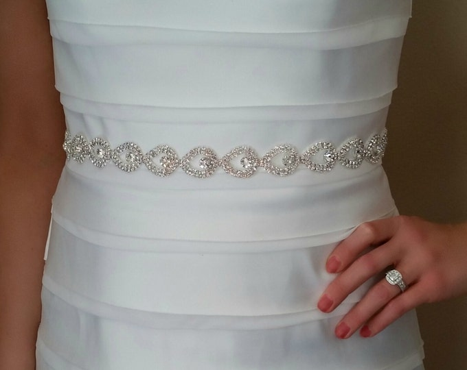 Silver Bridal Belt – Wedding Sash with Rhinestone Crystals and Satin Ribbon Tie