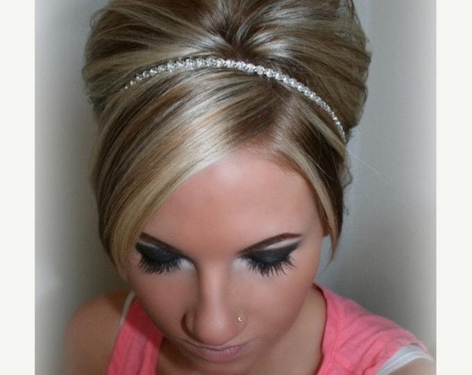 Wedding Headpiece, Headband, SINGLE ROW Rhinestone ribbon, Accessories, Bridal, Wedding Hairpiece, Bridal Ribbon Headband, Rhinestone