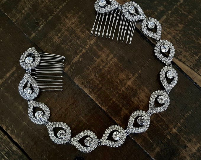 Bridal Headband, Wedding Headpiece, Bridal Hair Piece, Rhinestone Headband, Bridal Headpiece, Elsie, Hair Accessories