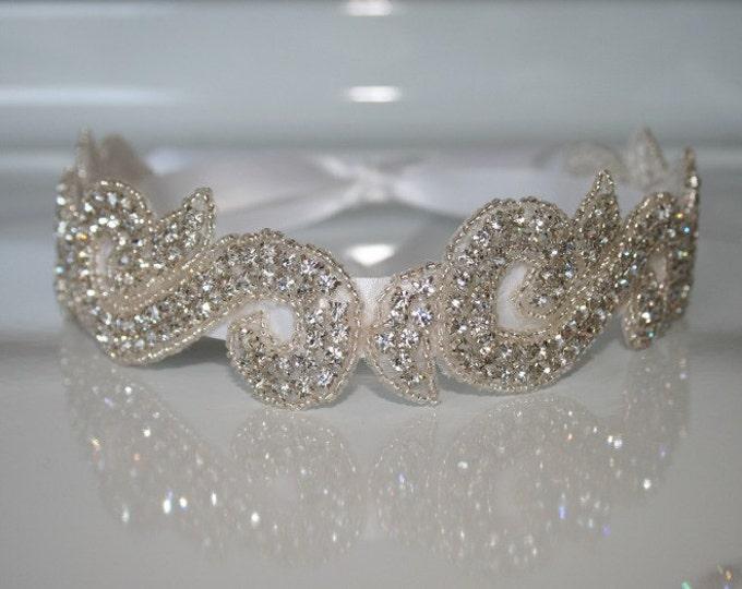 Jeweled Bridal Headband on a Satin Ribbon Tie