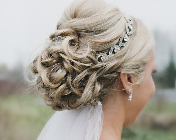 Wedding headpiece, headband, ELSIE, Rhinestone Headband, Wedding Headband, Bridal Headband, Bridal Headpiece, Rhinestone Headbands, Ribbon