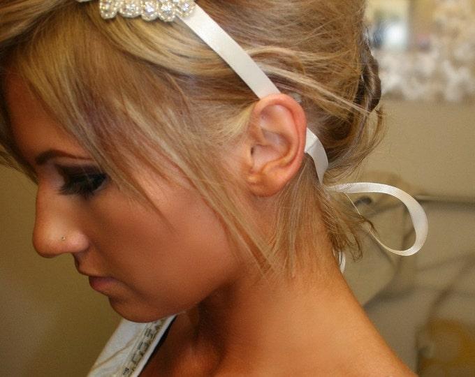Rhinestone Bridal Headband- KELLY, Wedding Headpiece, Headband, Accessories, Bridal, Wedding, Hair Accessory, Ribbon Hair Piece