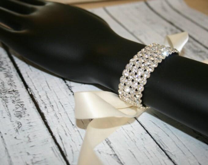 Rhinestone bracelet, SPARKLE, bridal bracelet, ribbon cuff, wedding accessory, rhinestone cuff, ribbon