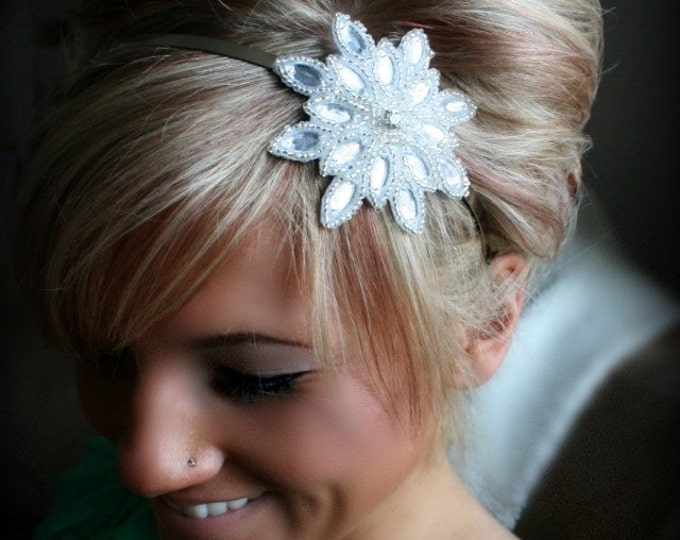 Bridesmaid Headband, Bridal Party Accessories, Beaded Rhinestone Headband, Snowflake Winter Wedding Headpiece, Bridesmaid Hair